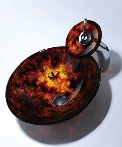 Kraus Fire Opal Glass Sink and Waterfall Faucet