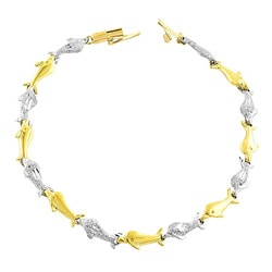Fremada 14k Two-tone Gold School of Dolphin Bracelet
