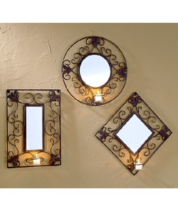 Iron Scrolled Votive 3-piece Mirror Set