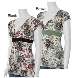 Junior's Floral Print Empire Waist Top by Rocker Girl (Overstock)