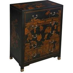 Hand-painted Oriental Dresser - Black