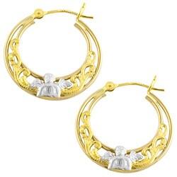 Fremada 14k Two-tone Gold Cherub Hoop Earrings