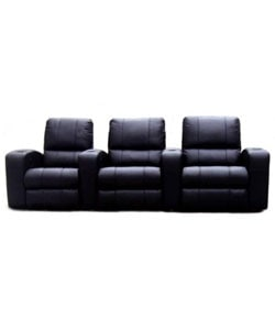 Black Leather 3-seat Recliner Home Theater Seating