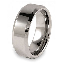 Beveled Edge Polished Tungsten Ring (8mm)