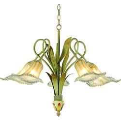 Hand-blown Glass 5-light Iron Floral Chandelier