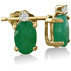 14k Yellow Gold Emerald and Diamond Stud Earrings 3955303