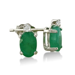 14k White Gold Emerald and Diamond Stud Earrings 3955412