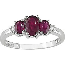 10k White Gold Diamond and Ruby Three-stone Ring