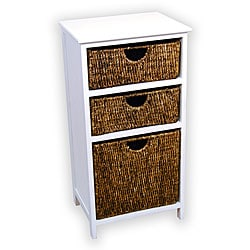 White Frame Compact Wicker Basket Storage Shelf