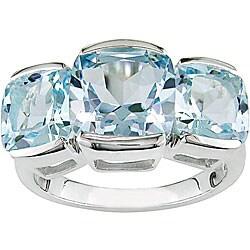 Sterling Silver Three-stone Blue Topaz Ring