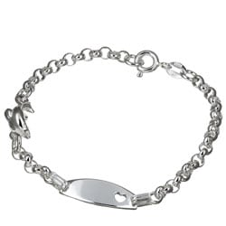 Sterling Essentials Sterling Silver 6-inch Dolphin Tween ID Bracelet