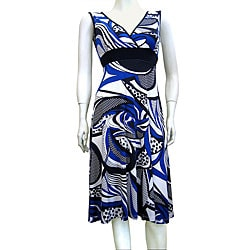 Fashion Love Printed Mid-length Blue Dress from Overstock.com :  blue fashion love printed overstock