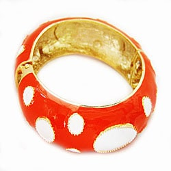 Enamel Orange with White Ovals Bangle Bracelet