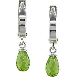 10k White Gold Peridot Hoop Drop Earrings