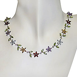 Sterling Silver Multi-gemstone Flower Necklace