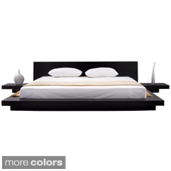 Fujian Modern Paltform Bed + 2 Night Stands Queen (Espresso)