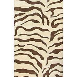Decorative Zebra Print Wool Rug (5' x 8')