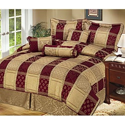 Hampton 7-piece Burgundy/ Gold Bedding Ensemble