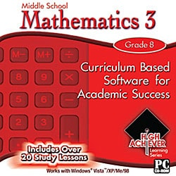 High Achiever Middle School Mathematics 3 Educational Software