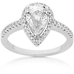 14k Gold 1 1/4ct TDW Pear-cut Diamond Ring (D, SI1)