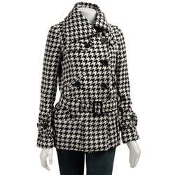 Coffee Shop Women's Belted Houndstooth Wool Coat