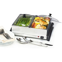 Dual Stainless Steel Buffet Server/ Warming Tray
