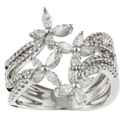 18K White Gold 1ct TDW Diamond Butterfly Ring (I-J, SI-I) | Overstock.com