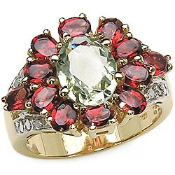 Malaika 18k Gold over Silver Green Amethyst/ Garnet Flower Ring