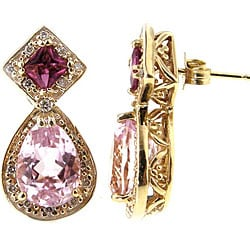 Michael Valitutti 14k Gold Kunzite, 1/4ct TDW Diamond Earrings (I-J, SI)