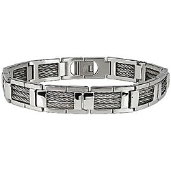 Stainless Steel Cable Link Bracelet | Overstock.com