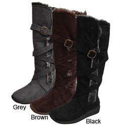 Adi Designs Women's Faux Fur Microsuede Boots
