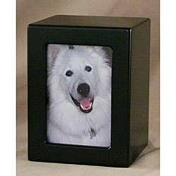 Black Satin Medium Pet Photo Urn - For pets up to 85 lbs
