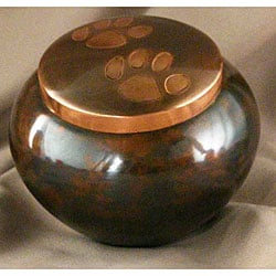 Large Rustic Copper Paw Pet Urn - up to 70lb.