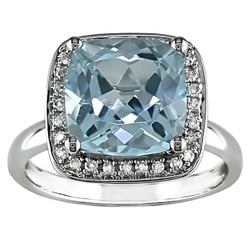 14k Gold Blue Topaz and 1/10ct TDW Diamond Ring