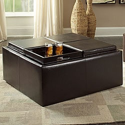Avenue Faux Leather Dark Brown Cocktail Storage Ottoman