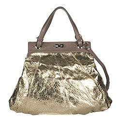 Chloe Gold Medium Cracked Leather Tote from Overstock.com