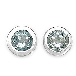 Malaika Sterling Silver Blue Topaz Round Stud Earring