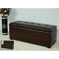 Homestyles Espresso Bi-cast Leather Storage Bench