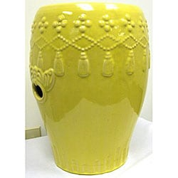 Hanging Tassels Yellow Garden Ceramic Stool