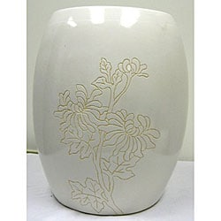 Floral White Ceramic Garden Stool