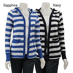C&C California Women's Wide Stripe Hooded Cardigan