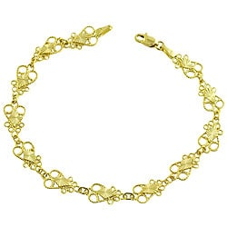 14k Yellow Gold Filigree Heart Bracelet