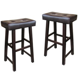 Bicast Leather 30-inch Saddle Barstools (Set of 2)