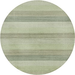 Green Stripes Wool Rug (6' Round)