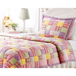 Brooke Pink Cotton 3-piece Quilt Set