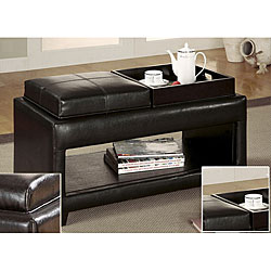Vanity Storage Bench with Flip-top Tray with Open Storage Space