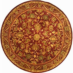 Safavieh Handmade Exquisite Wine/ Gold Wool Rug (3'6 Round)