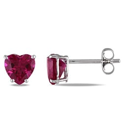 10k White Gold Created Ruby Heart Earrings