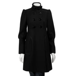Miss Sixty Women's Double-breasted Empire Seam Wool Coat
