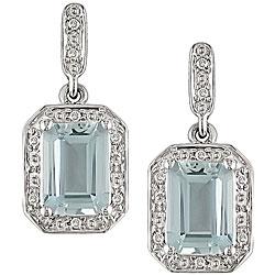 10k White Gold Aquamarine and Diamond Earrings
